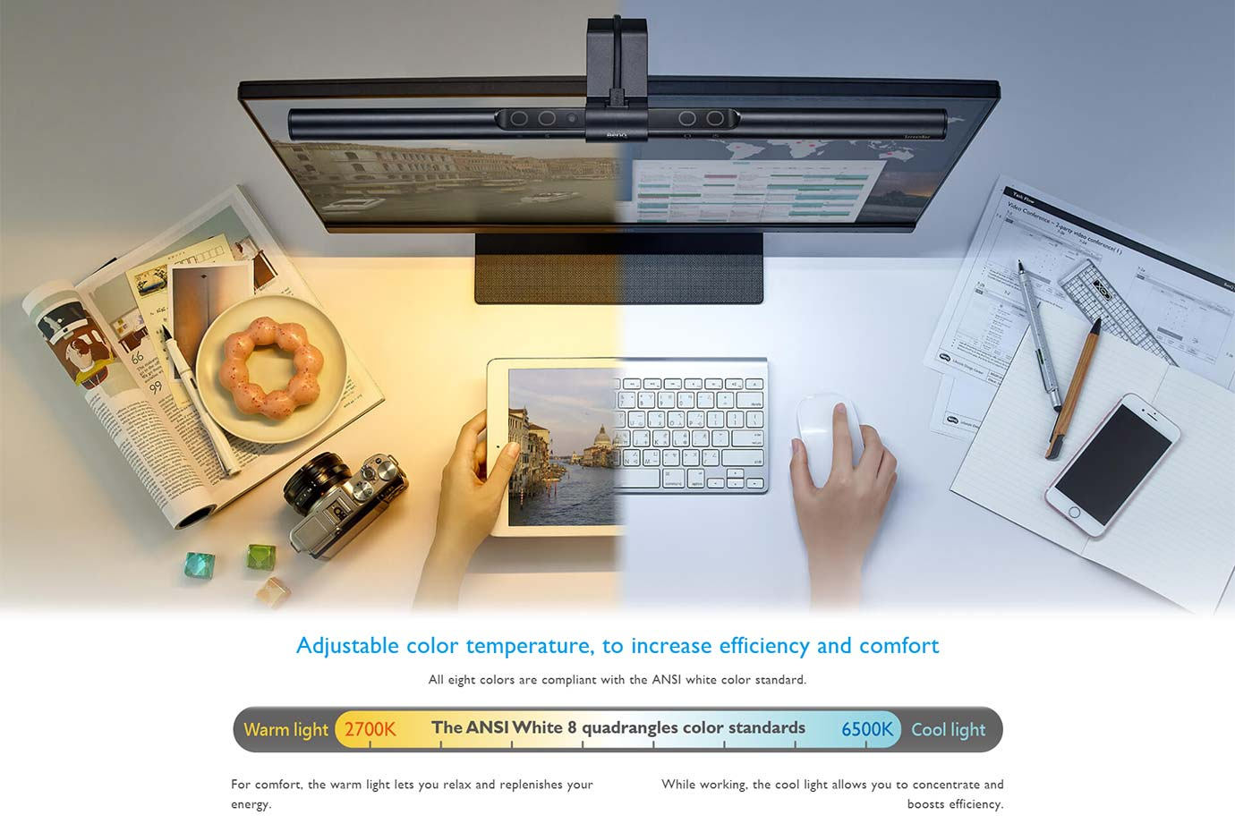 Adjustable colour temperature