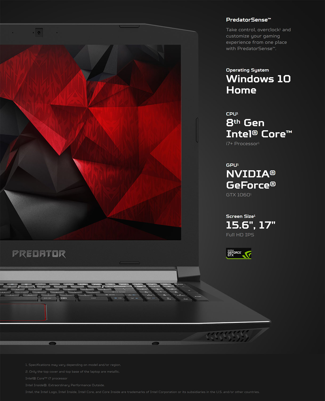 Acer Predator G3 Helios 300 17.3in i7-8750H GTX1060 16GB 256GB 2TB Win10 Notebook