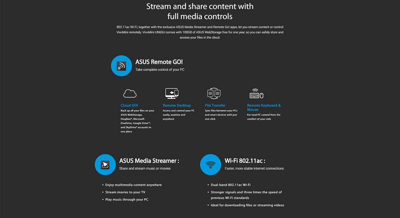 Stream and share content with full media controls