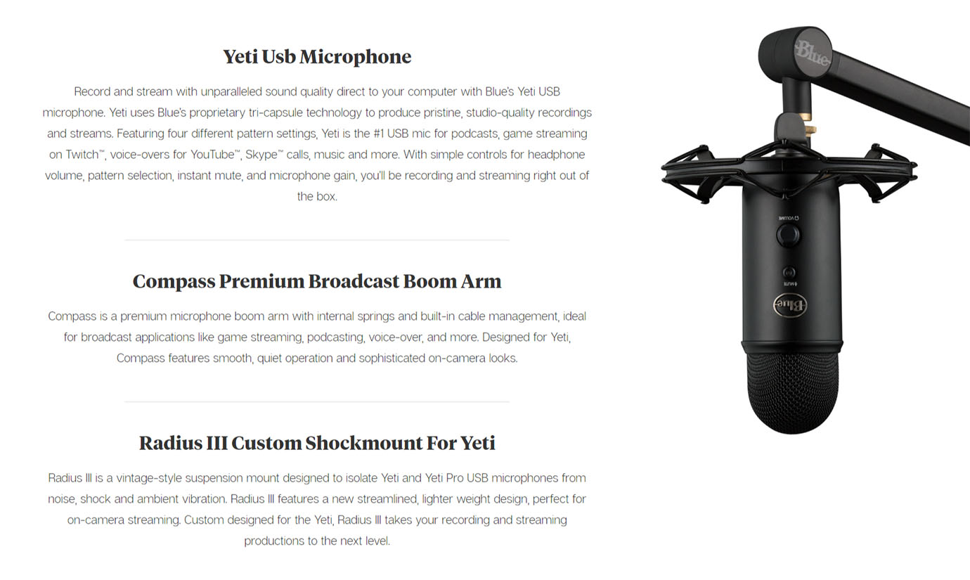 Blue Microphones Yeticaster Pro Broadcast Bundle with Yeti/Radius III/Compass Black