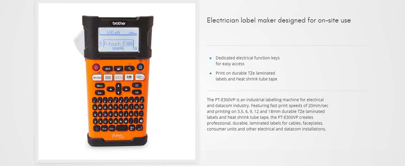 Electrician label maker designed for on-site use