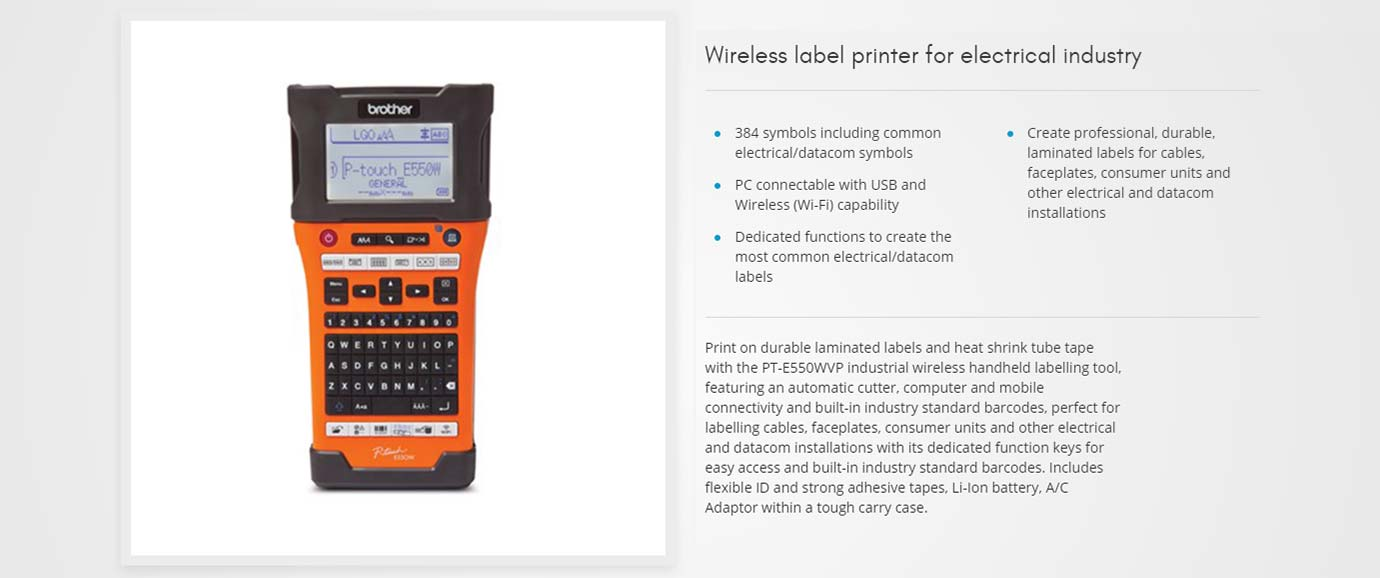 Wireless label printer for electrical industry
