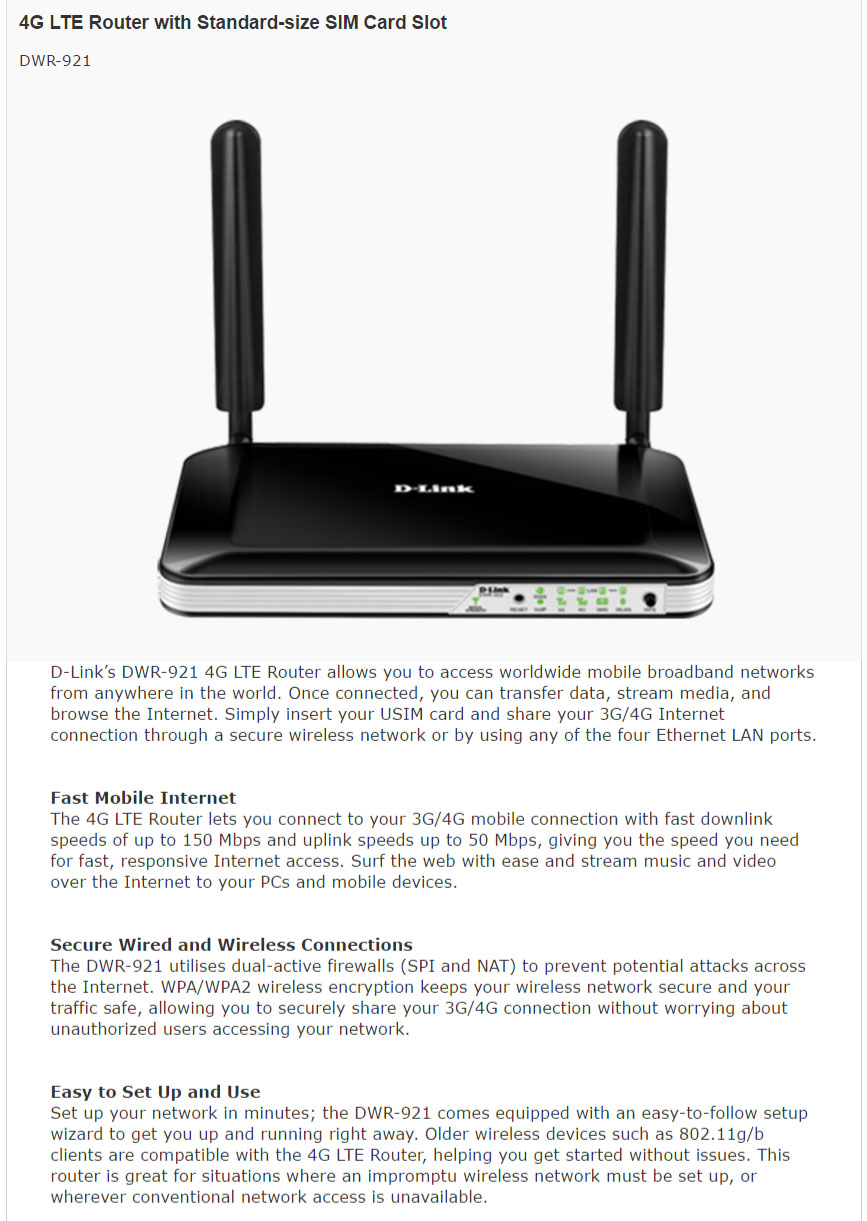 D-Link DWR-921 4G LTE Router with Standard-size SIM Card Slot ...