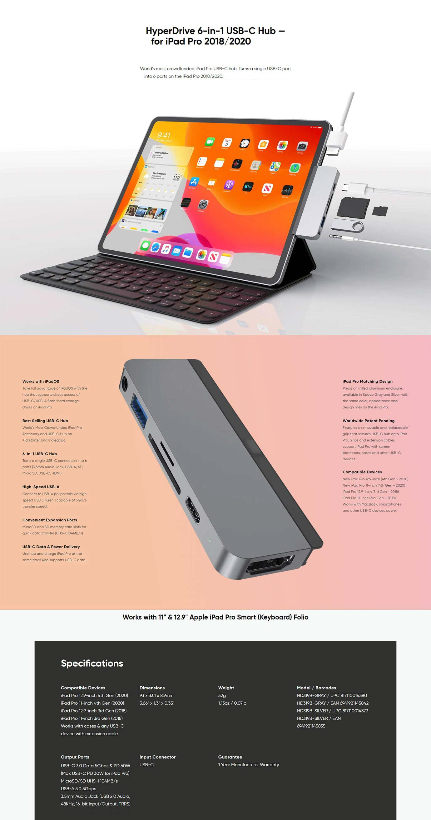 HyperDrive 6 Port USB-C Hub for iPad Pro
