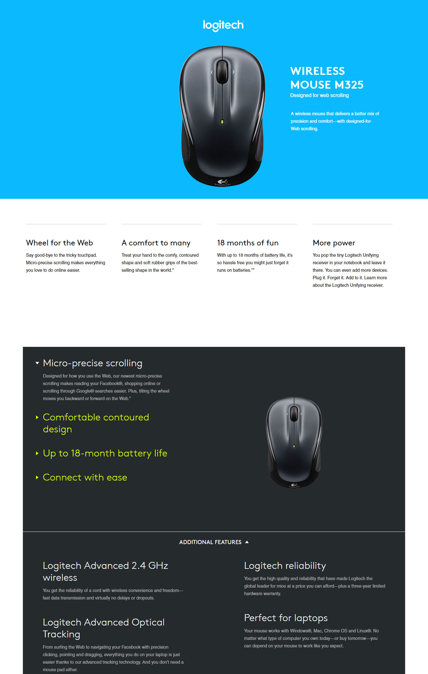 Logitech M325 Moody Midnight Wireless Mouse Blue