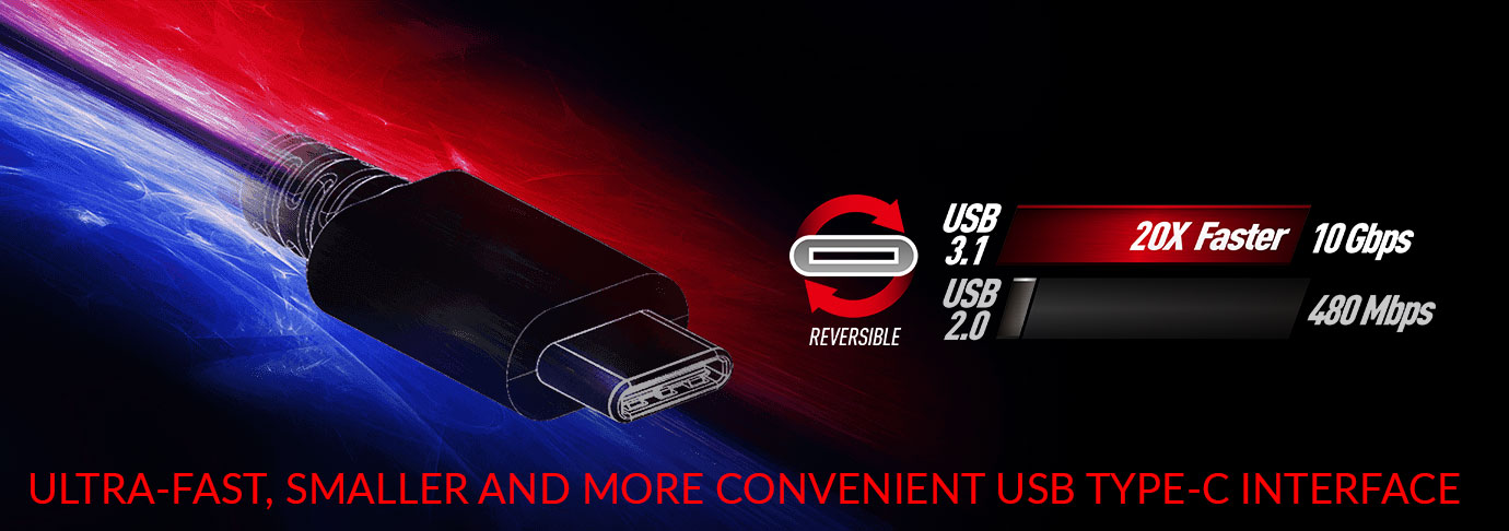 FASTER, SMALLER AND MORE CONVENIENT USB TYPE-C INTERFACE