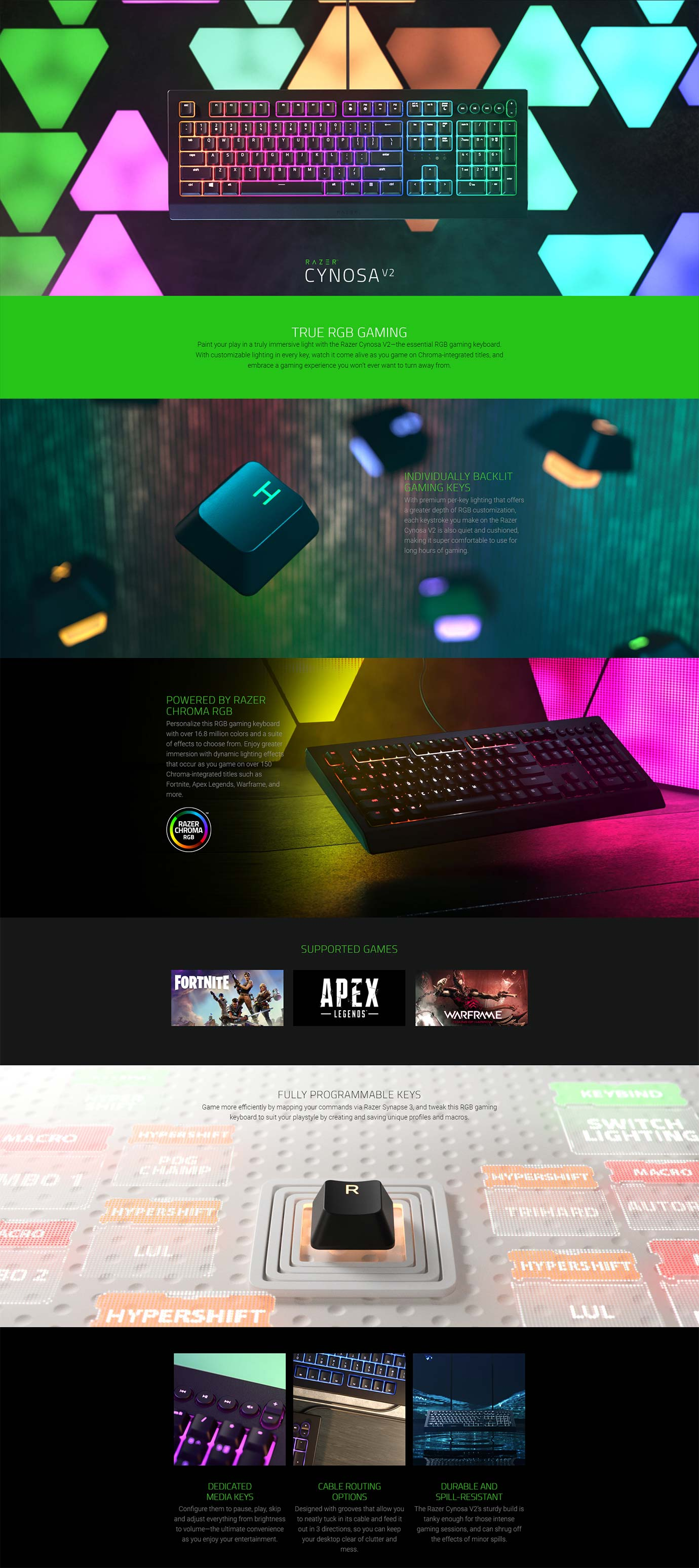 Razer Cynosa V2 RGB Membrane Gaming Keyboard | Wireless 1