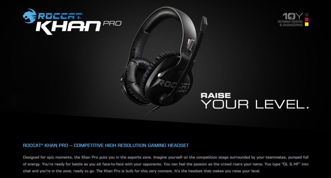 Roccat KHAN PRO Competitive High Res Gaming Headset Black