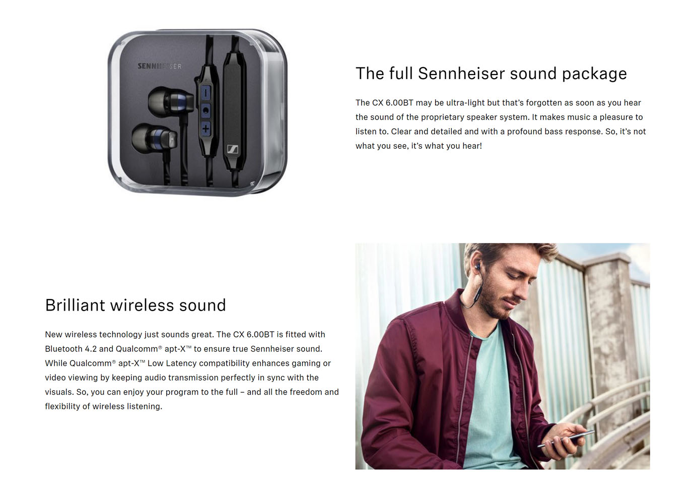 Sennheiser CX 6.00BT In-Ear Wireless Earphones