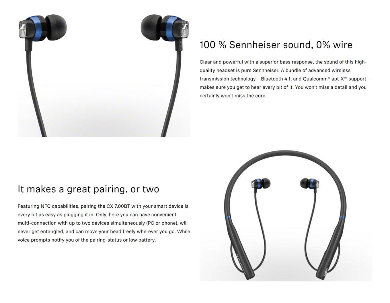 Sennheiser CX 7.00BT In-Ear Wireless Neckband Earphones