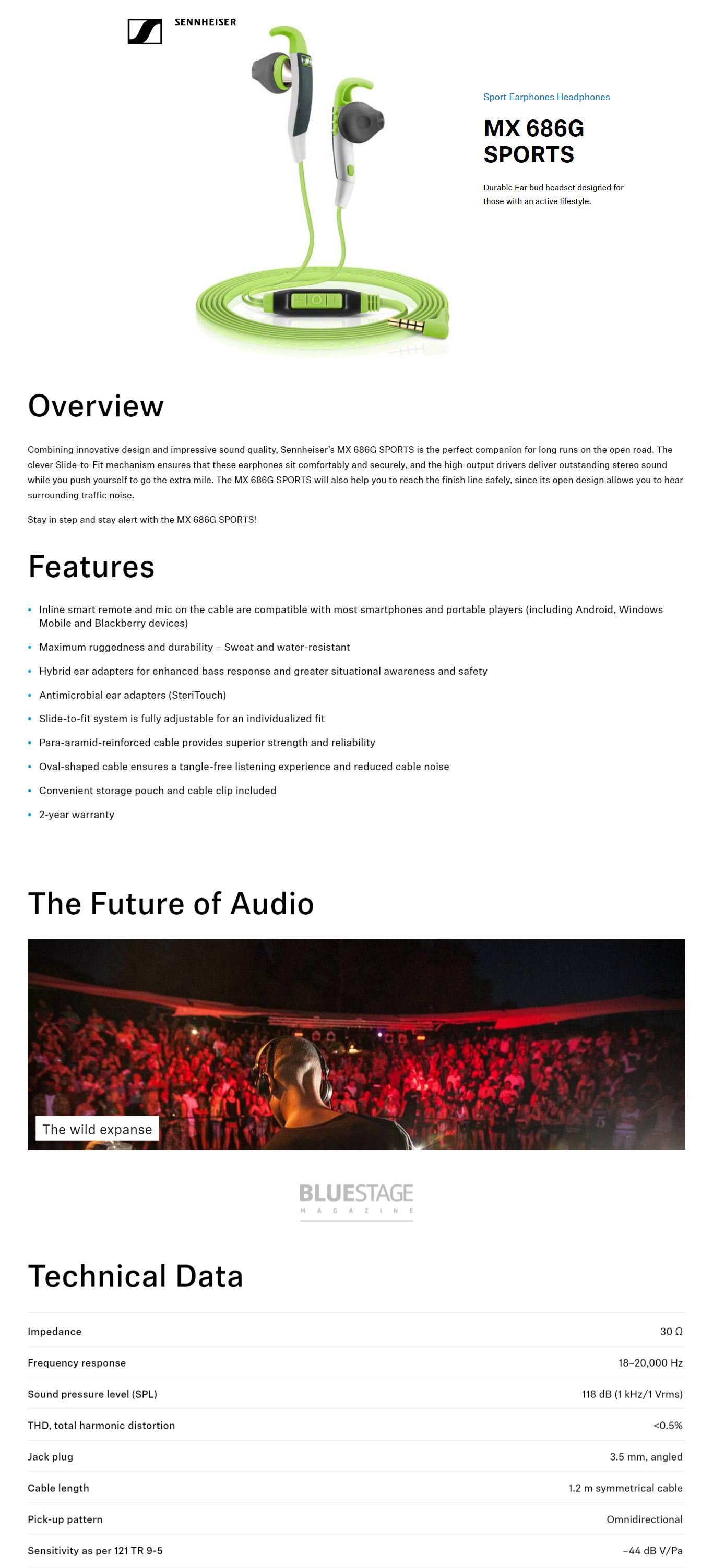 Sennheiser MX 686G SPORTS Earphones for Android