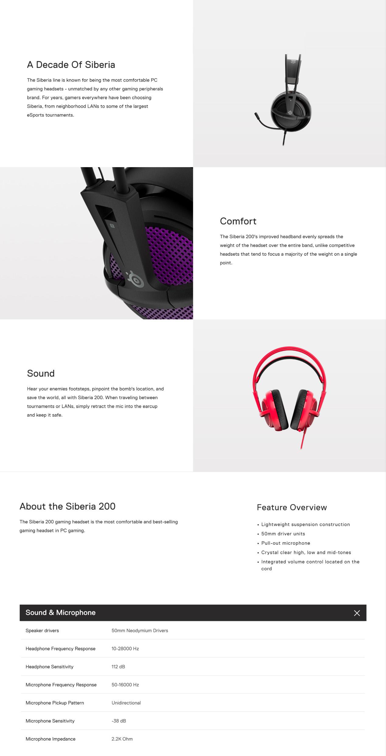 SteelSeries Siberia 200 Gaming Headset Black