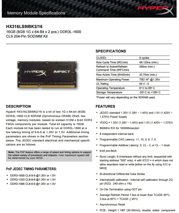 Kingston 16GB DDR3 Hyperx Impact