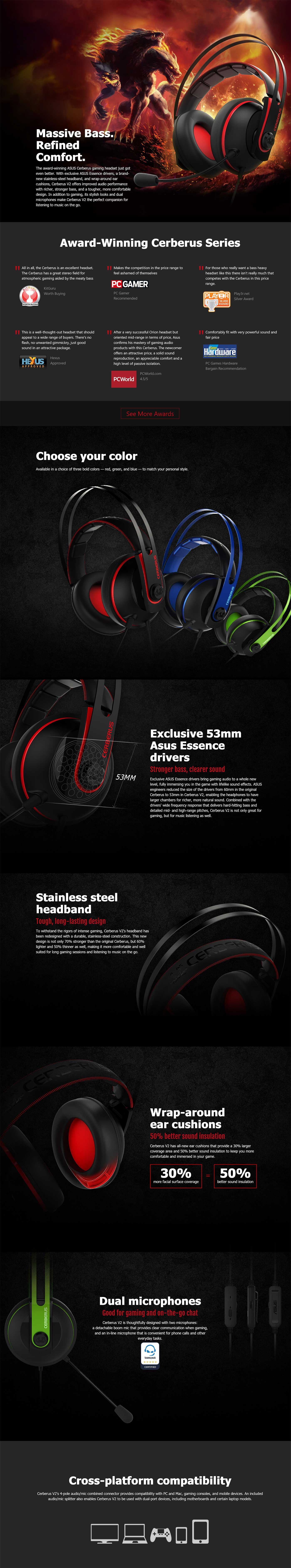 Asus Cerberus V2 Gaming Headset 90YH015R-B1UA00 details