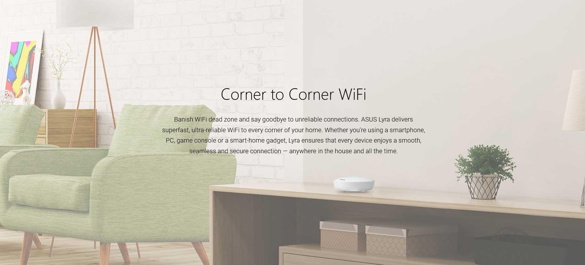 Asus Lyra 3 Pack AC2200 Whole-Home Wi-Fi System LYRA-3PK Corner to Corner Wifi