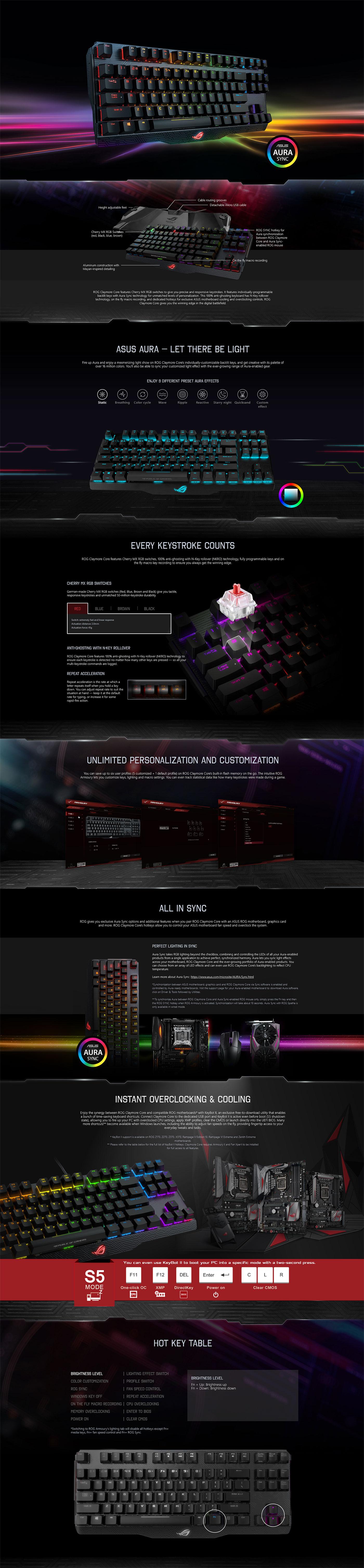 Asus MA02 ROG Claymore Core RGB 90MP00I0-B0UA00 Red Switch Details