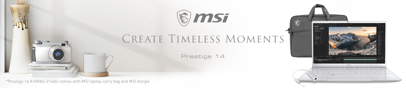 MSI Prestige 14 Pure White A10RAS-214AU Bundle