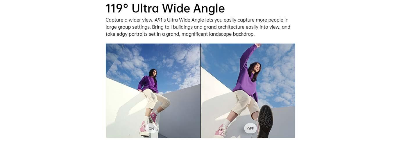 119° Ultra Wide Angle