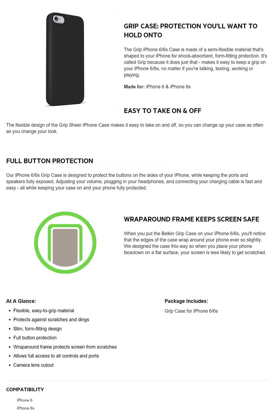 belkin iphone 6 grip case info