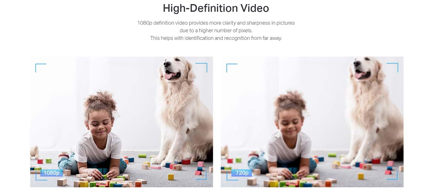 High-Definition Video 1080p definition video provides more clarity and sharpness in pictures due to a higher number of pixels. This helps with identification and recognition from far away.