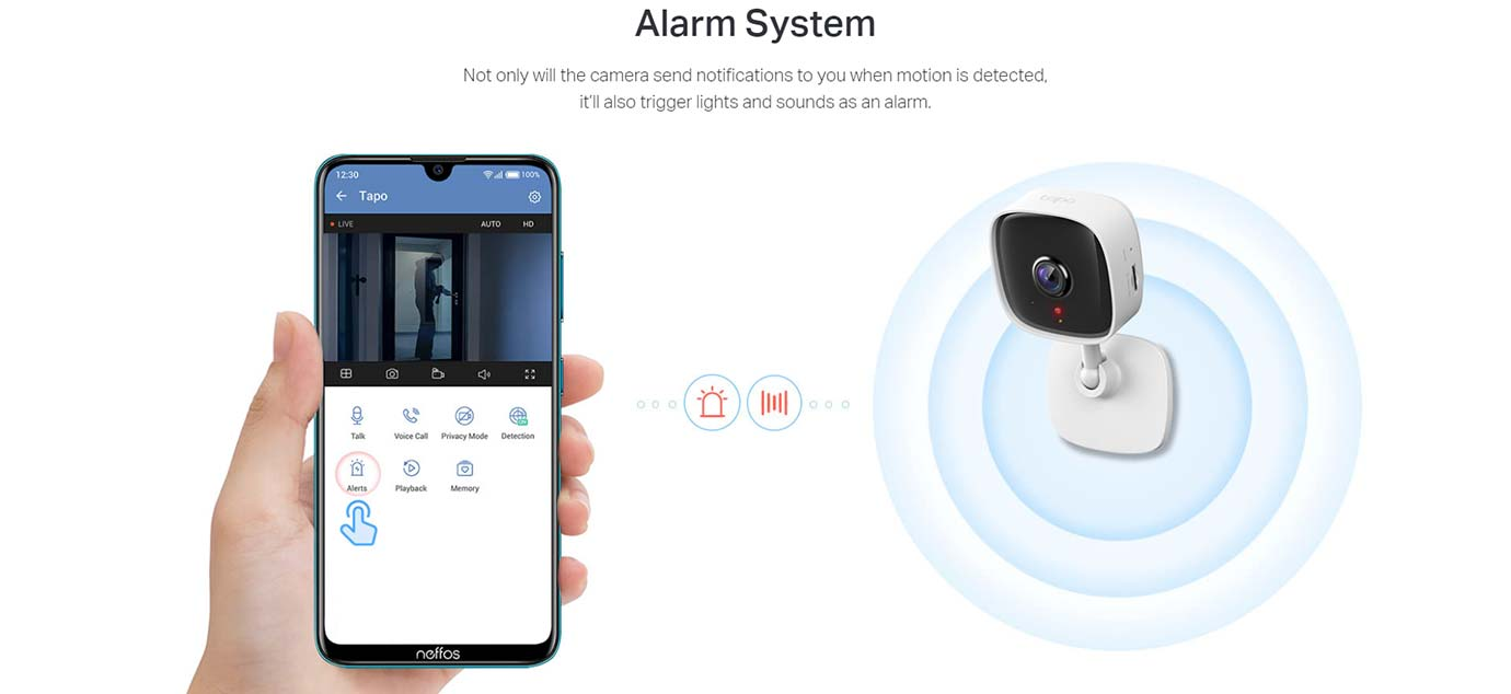 Alarm System Not only will the camera send notifications to you when motion is detected, it'll also trigger lights and sounds as an alarm.