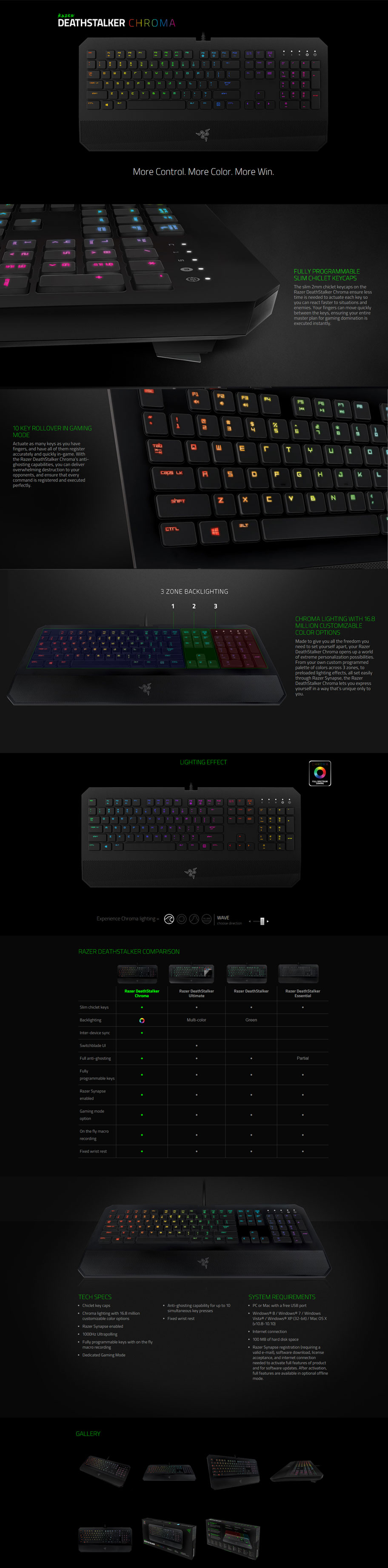 Razer Deathstalker Chroma Gaming Keyboard RGB