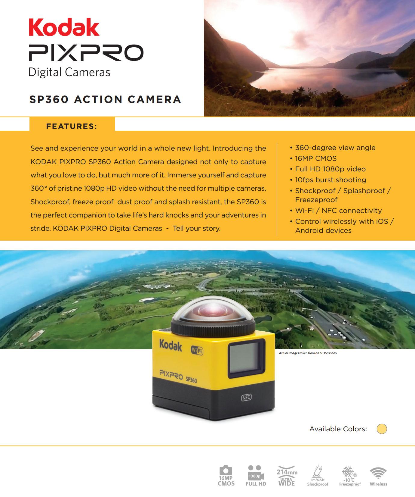 Kodak Pixpro SP360 Action 360 Degree Camera Extreme Pack