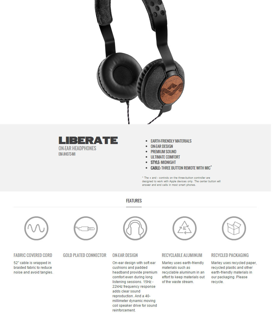 Marley Liberate On-Ear Headphones with Mic Midnight Black inc Case