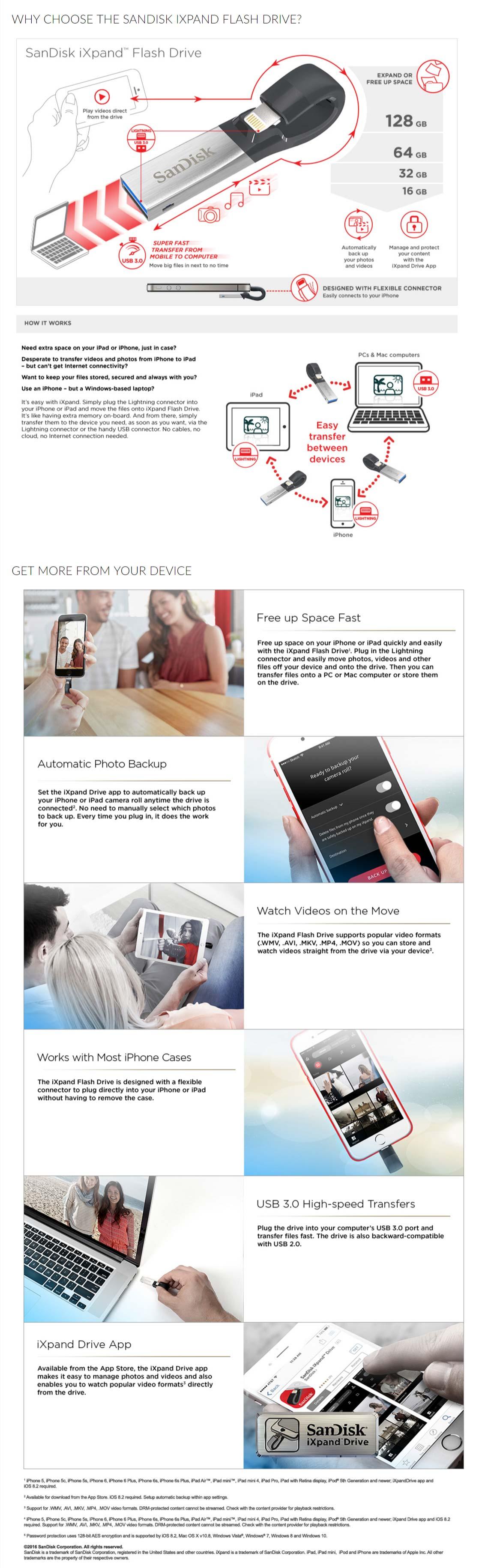 SanDisk iXpand 16GB V2 Flash Drive