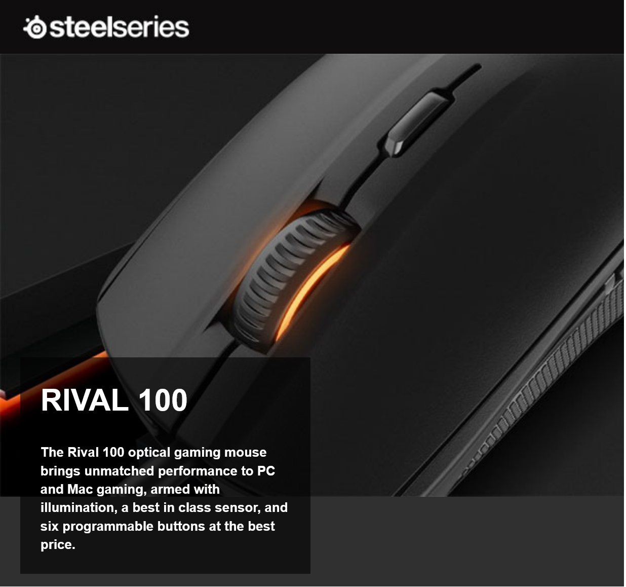 SteelSeries Rival 100 Gaming Mouse Black 62341 Intro