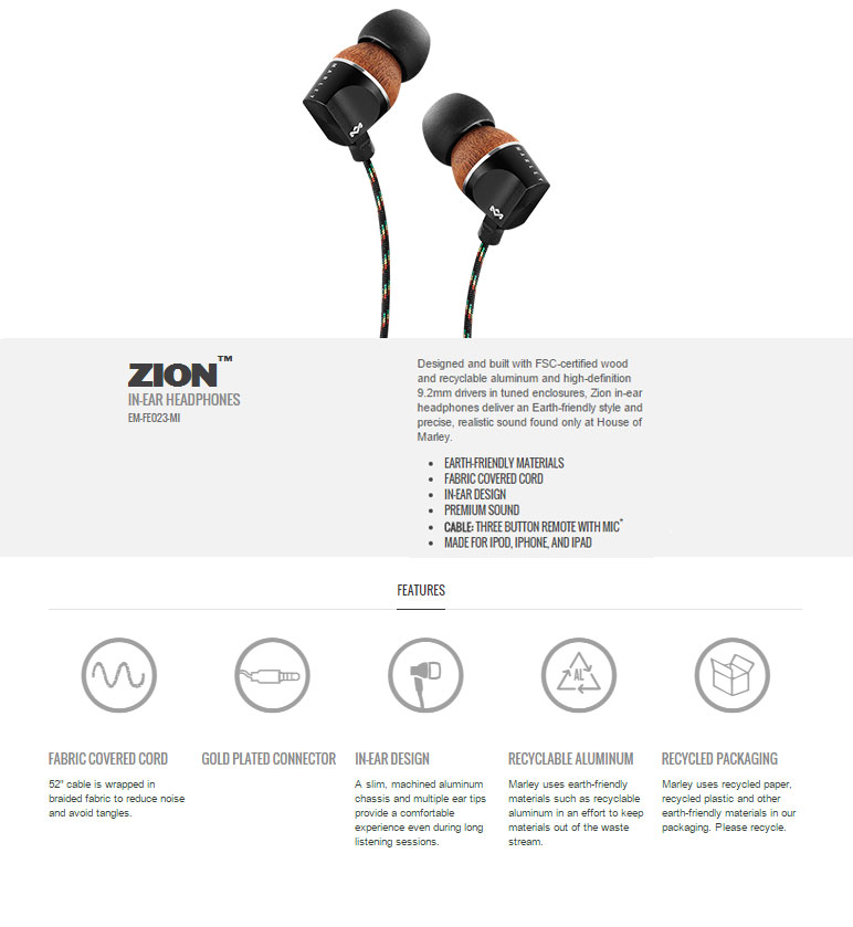 Marley Zion In Ear Headphones with Mic Midnight Grey